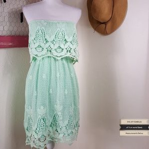 🆕️Hot & Delicious Mint Crocheted Strapless Dress
